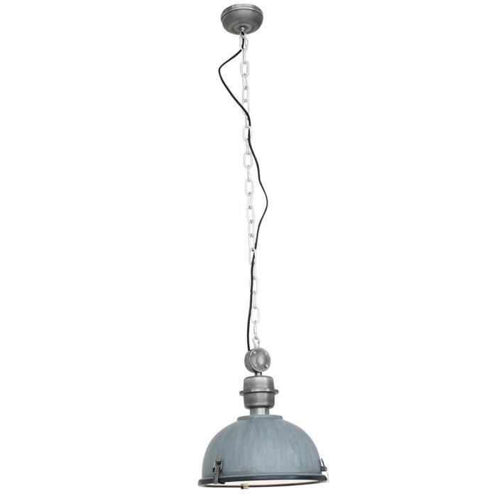 Lampe à suspension vintage au look industriel, gris, BIKKEL XXL