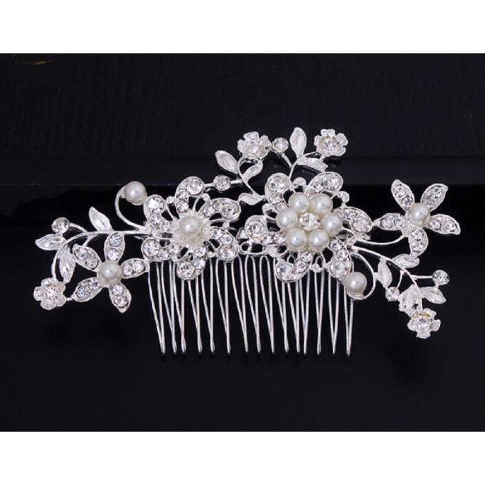 Bijou de cheveux , peigne à chignon perles et strass, accessoire mariage
