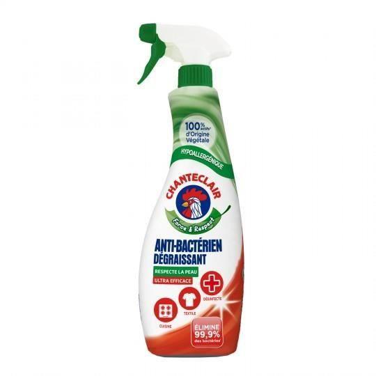 CHANTECLAIR Spray Dégraissant Universel Antibactérien 625 ml - Lot de 4