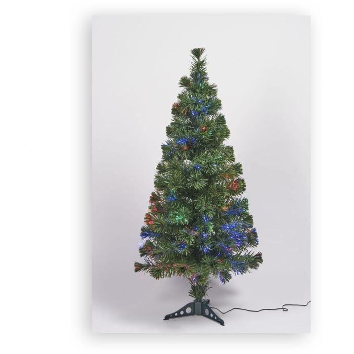 Sapin vert de Noël en PVC - H 120 cm - Fibre optique multicolore - 24 V lumière animée