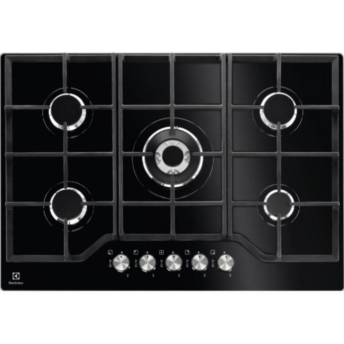 KGG7536K - plaque de cuisson gaz 74cm 5 feux 10900w verre noir - ELECTROLUX