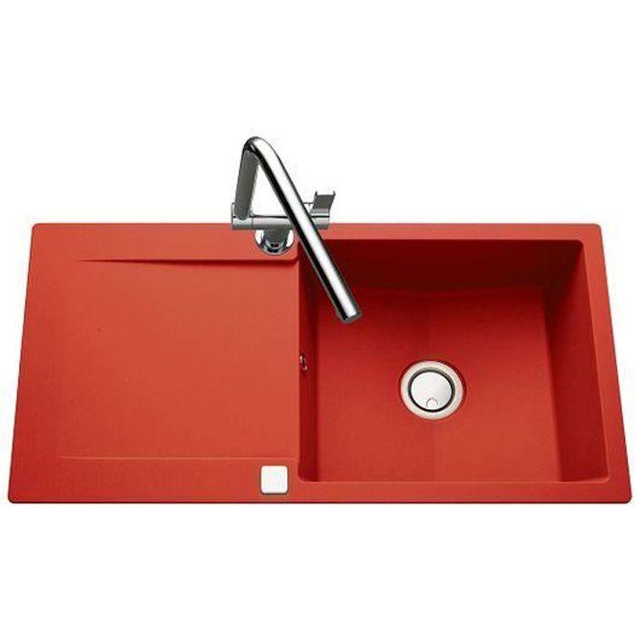 Évier granit rouge Luisina EPURE 1 grand bac 1 égouttoir Rouge