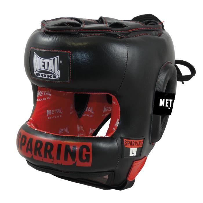 -Casque de sparring Métal boxe en cuir-M-Noir-M--M-Noir--------------Noir-M