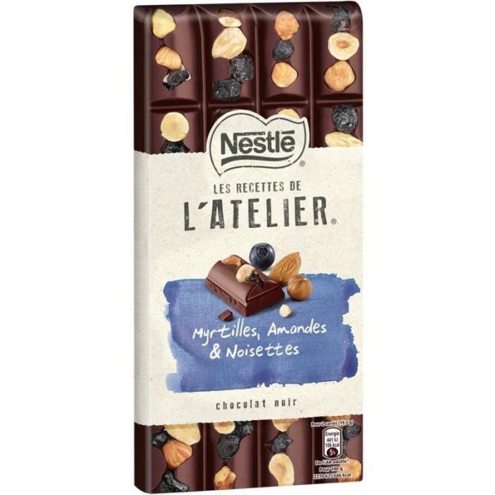 Nestlé Les Recettes de l'Atelier Myrtilles Amandes & Noisettes Chocolat Noir 195g (lot de 10)