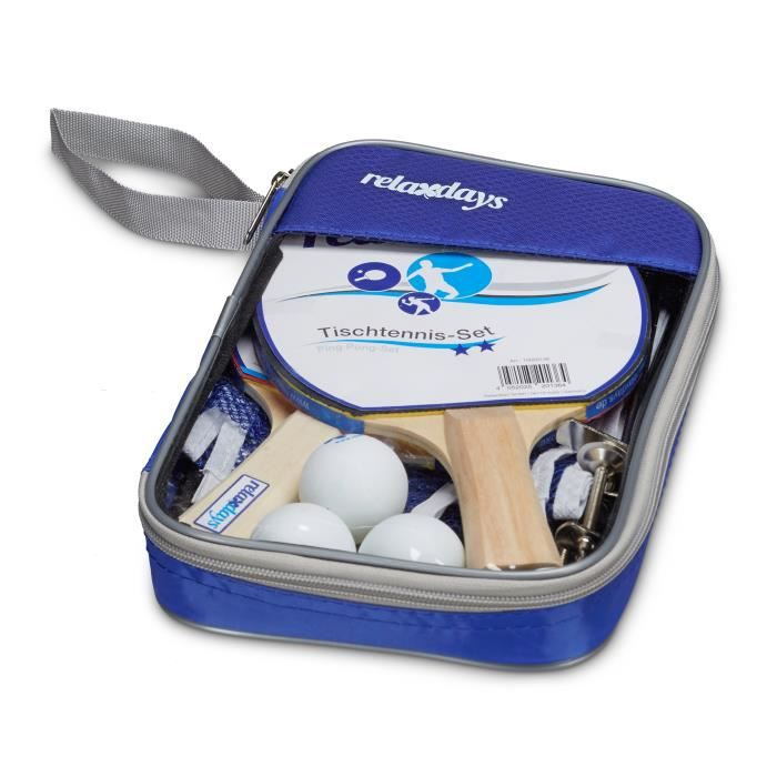 Relaxdays Set de ping-pong raquette filet 3 balles de tennis de table sac de transport HxlxP: 27 x 18 x 4 cm bleu