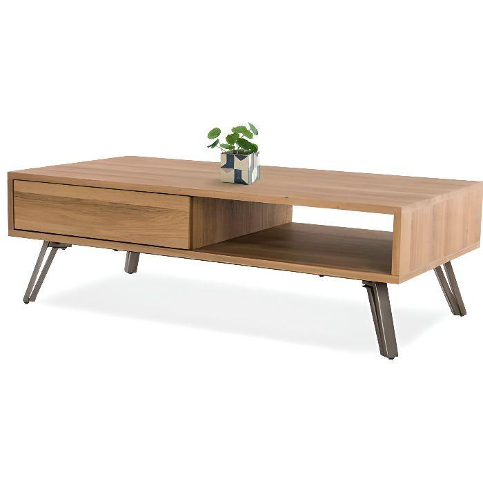 Soliving Leather Table de Basse Bois//Gris