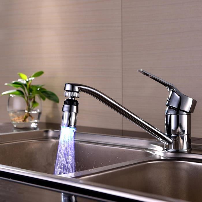 7 couleur lumi/ère changeant salle de bain cuisine LED flux lumineux robinet d/'eau