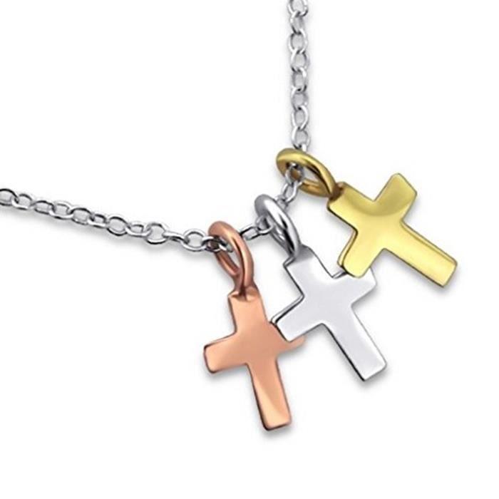 collier petite croix femme