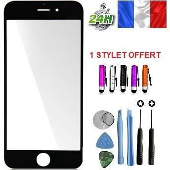 vitre apple iphone 6 plus noir kit outils stylet adhesif offert pour reparer votre ecran lcd. Black Bedroom Furniture Sets. Home Design Ideas