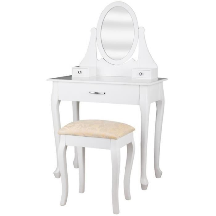 coiffeuse bois blanche miroir tabouret 1401004 achat. Black Bedroom Furniture Sets. Home Design Ideas