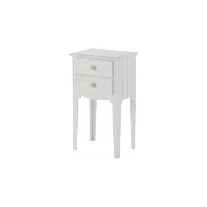 chevet pin massif blanc 2 tiroirs d cors cannelures. Black Bedroom Furniture Sets. Home Design Ideas