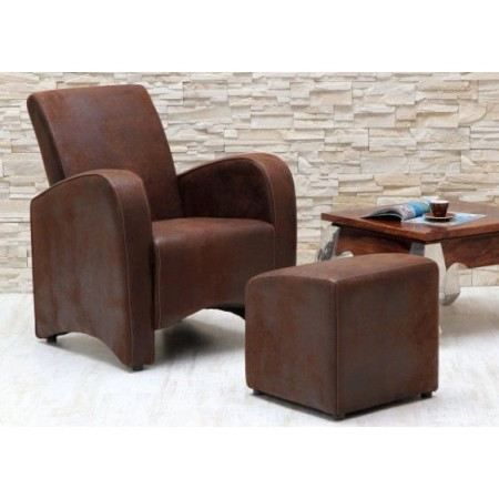 fauteuil club vintage avec ottoman achat vente fauteuil mati re de la structure bois. Black Bedroom Furniture Sets. Home Design Ideas