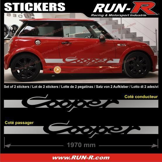 2 stickers mini cooper 197 cm argent achat vente stickers cdiscount. Black Bedroom Furniture Sets. Home Design Ideas