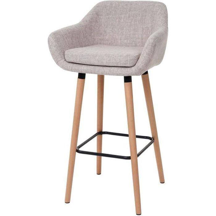 Textile 2x Tabourets de bar Vaasa t381 chaise de bar tabouret Crème Gris