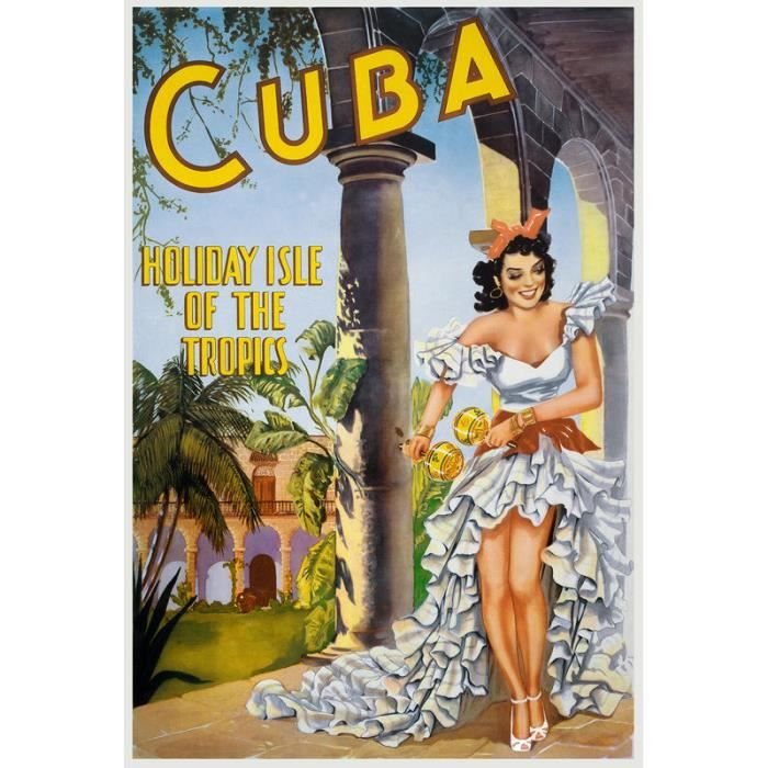 impression d 39 art cuba affiche publicitaire vintage holiday isle of the tropics achat vente. Black Bedroom Furniture Sets. Home Design Ideas