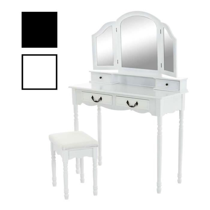 clp coiffeuse table de maquillage violetta mirroir et tabouret commode x cm hauteur cm style. Black Bedroom Furniture Sets. Home Design Ideas