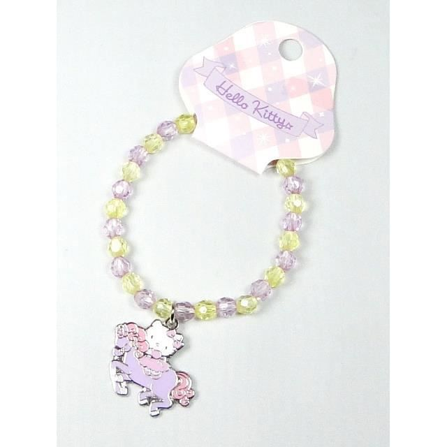 bracelet lastique hello kitty cheval mauve achat vente bracelet gourmette bracelet. Black Bedroom Furniture Sets. Home Design Ideas