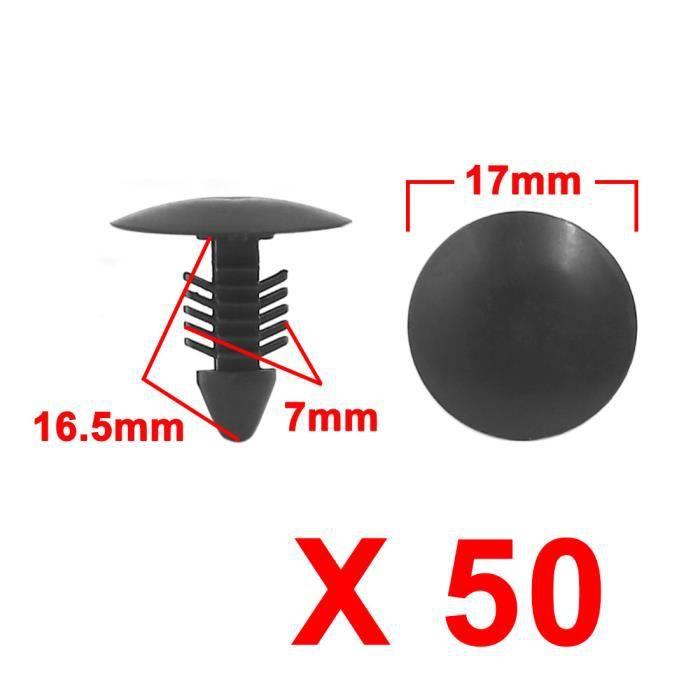 Sourcingmap/® 50 Pi/èces Pousser Gris Aile Voiture Type Fixation Rivets Plastique 6,7 mm diam/ètre Trou Correspond