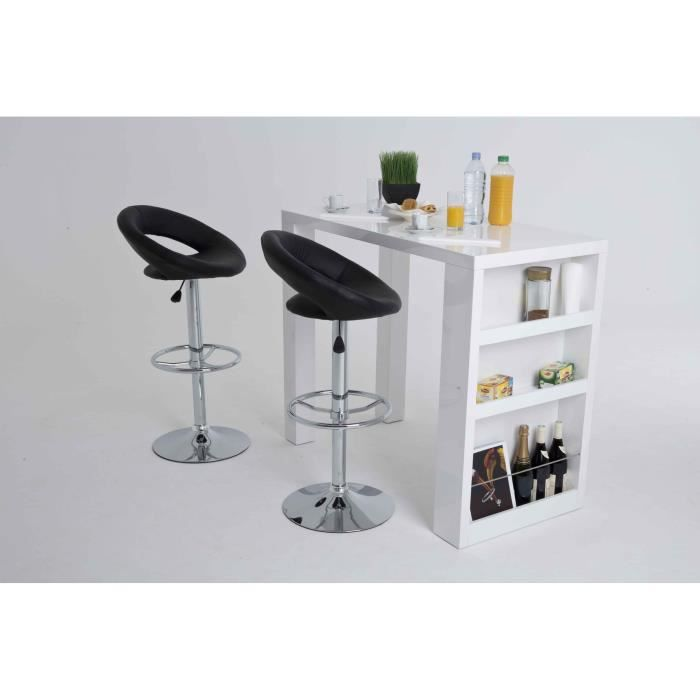 bianca table bar 2 personnes 120x60 cm laqu blanc. Black Bedroom Furniture Sets. Home Design Ideas