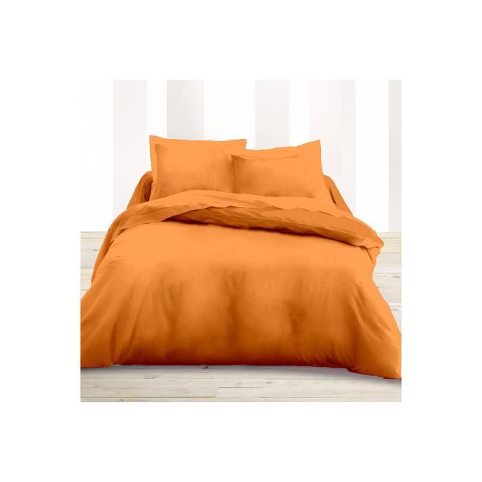 Housse de couette orange 220 x 240 cm orange achat for Housse de couette orange