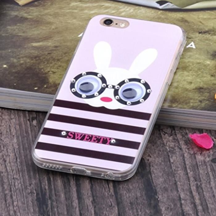 Jewellery Bling Strass Souple Tpu Gel Transparent Grands Yeux Lapin Case-Coque-Etui De Téléphone Mobile Pour Iphone 6-6S 4.7 Fe