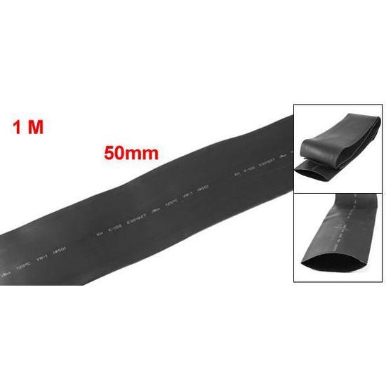 1 m/ètre de 50 mm de diam/ètre Ratio 2:1 chaleur r/étractable de recul Noir