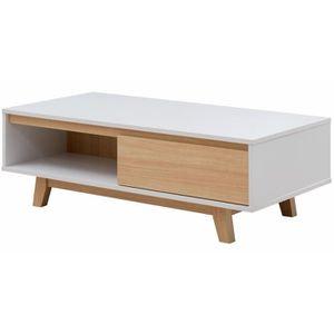 TABLE BASSE FJORD Table basse scandinave blanc et décor bois é