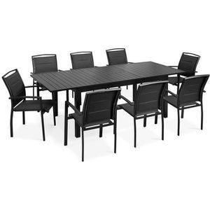 SALON DE JARDIN  Table de jardin extensible et 8 chaises avec accou
