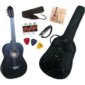 PACK INSTRUMENTS CORDES Pack Guitare Classique 4/4 Noire Mat Avec 6 Access