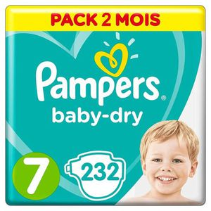 COUCHE PAMPERS Baby-Dry Taille 7 (+15kg) 232 couches - Fo