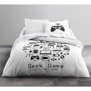 HOUSSE DE COUETTE ET TAIES TODAY Parure de couette Geek Game - Coton - 220 x