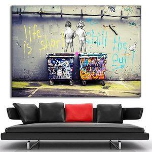 TABLEAU - TOILE Tableau Home Déco - Banksy Urban Graffiti Art Life