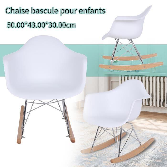 Fauteuil à Bascule Rocking Chair hauteur 48cm Pieds Bois Clair Assise Blanc pour Les enfants