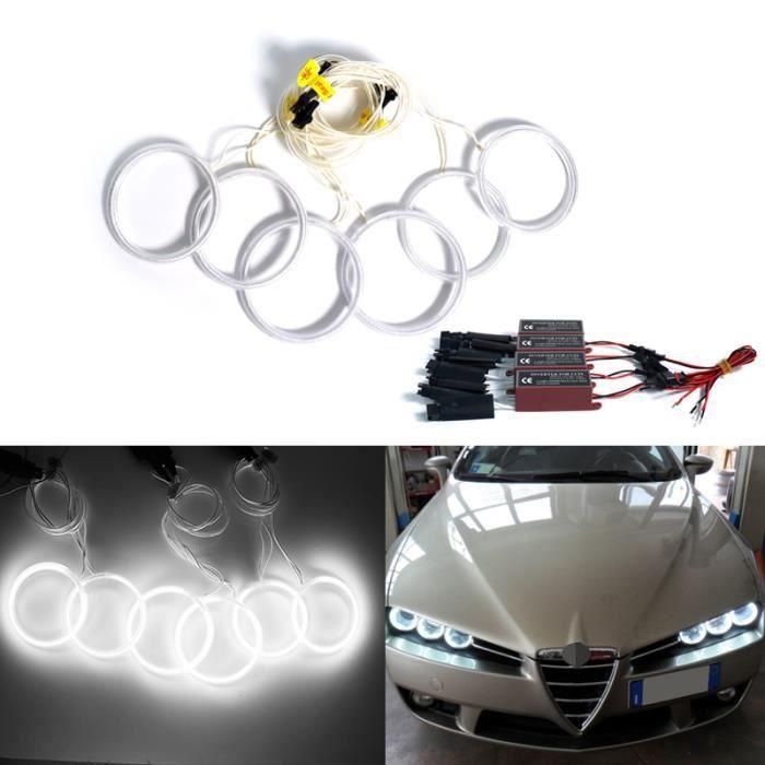 6 pièces LED Angel Eyes Halo anneaux lumières Kit de phare pour 2005-2011 Alfa Romeo 159