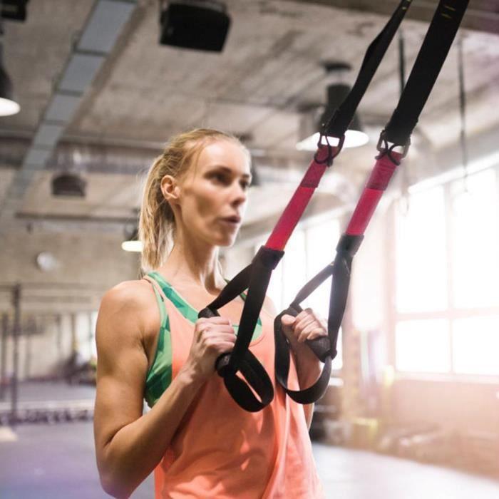 Sangle de Suspension D'exercice de Suspension Sangle Fitness Kit pour Musculation Multifonction,jaune