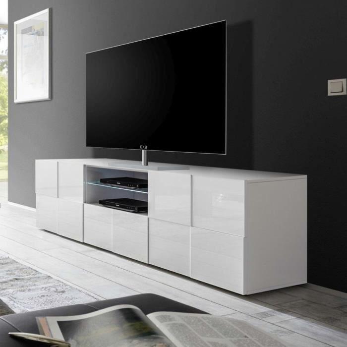 Grand meuble TV blanc laqué brillant DOMINOS L 181 x P 42 x H 57 cm Blanc