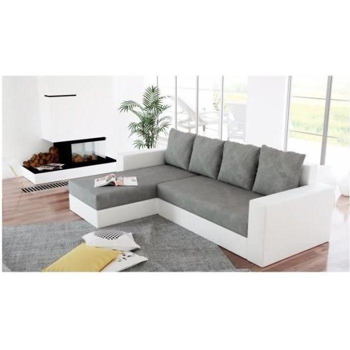 Canapé d'angle convertible et réversible ARION gris et blanc