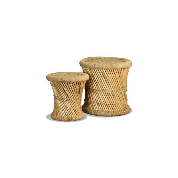 Tabourets 2 pcs Bambou et jute alsa