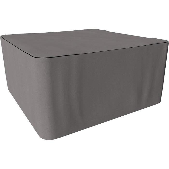 TABLE CHAISE DE JARDIN SORARA Housse de Protection Hydrofuge pour Table Carr&eacute - Gris - 200 x 200 x 90 cm164