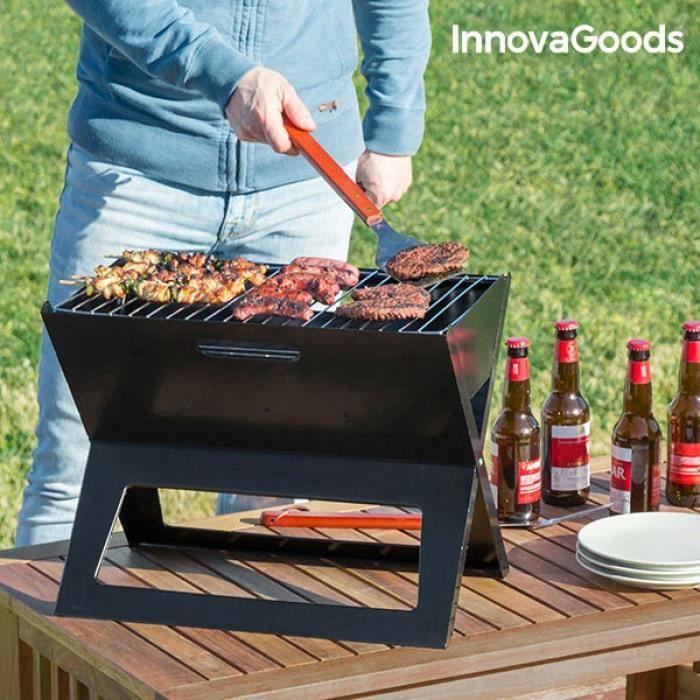 Barbecue Pliable portable au charbon de bois noir – Voyage, Pic nic, Camping, Petit barbecue nomade portatif, bbq pliable