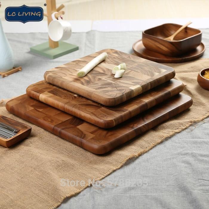 Planche à découper,Grande planche à découper carrée, bloc de boucher à Grain fin, blocs à découper en bois - Type 300x300x25mm
