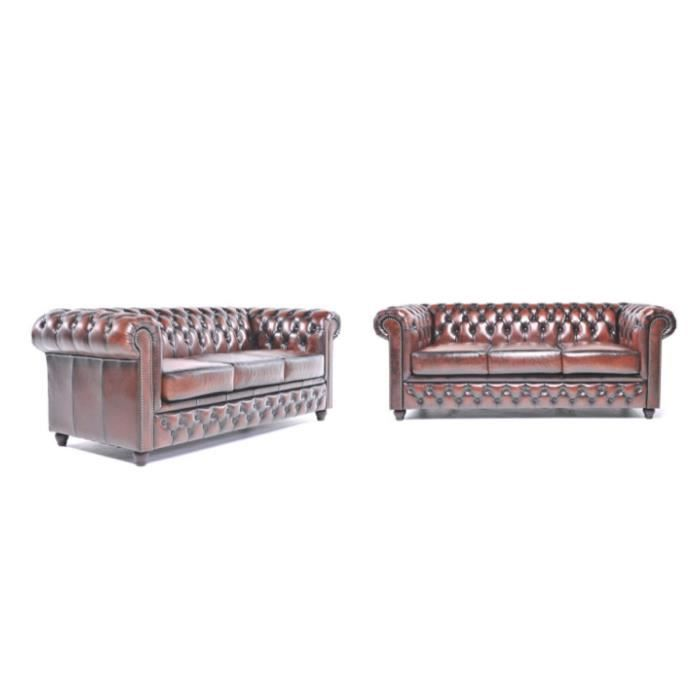 Chesterfield - Canapé 3 places 2x Chesterfield Orginal Brighton Antique - Marron