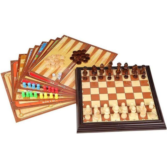 Coffret multijeux Bois - 12 Jeux Classiques en 1