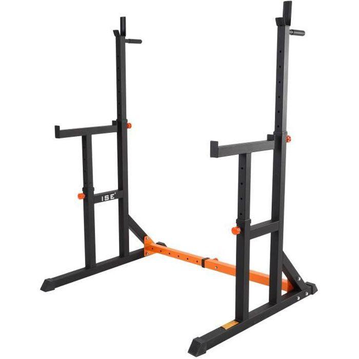ISE Cage de Squat Support de Squat Réglable,Rack de Squat avec Barre de Support pour Haltères-Charge Max.200kg-15 niveaux de réglage