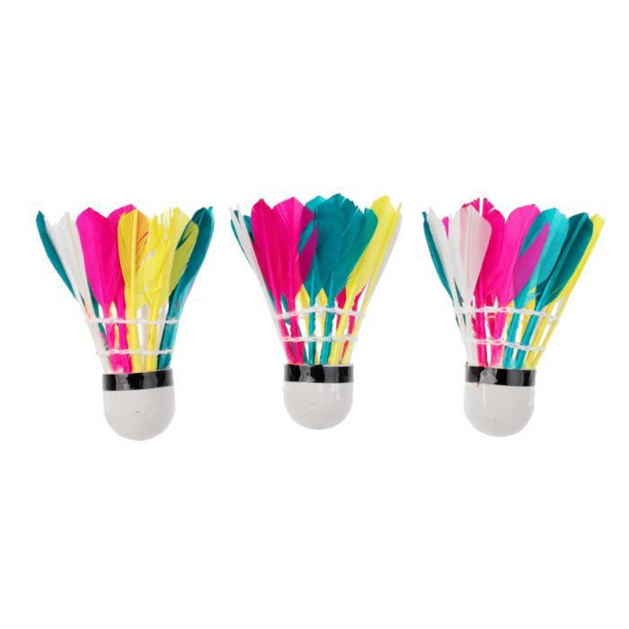 3pcs Volants De Badminton En Plume Coloré Jeux De Formation Accessoire