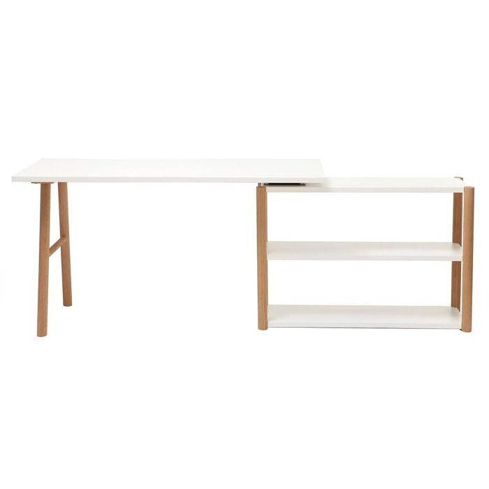 Miliboo - Bureau pivotant design scandinave blanc et chêne GILDA