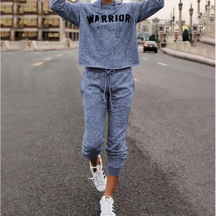 Survêtement jogging femme ensemble deux pièces sweat-shirt+pantalon GYM sport avec bandes Grande