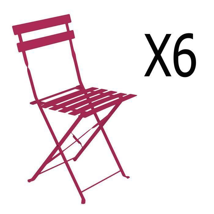 Lot de 6 chaises pliantes en acier coloris framboise - Dim: 42 x 47 x 81 cm