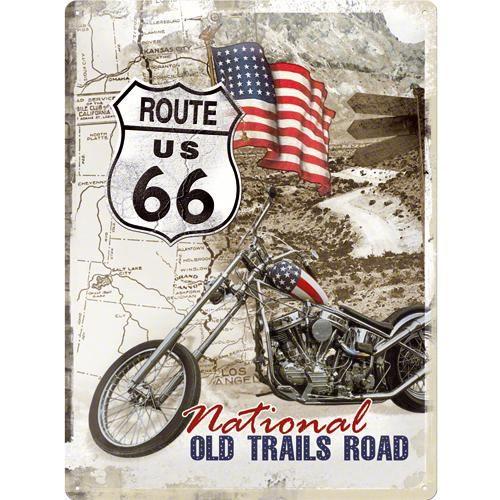 Grande plaque métal Route 66 Moto