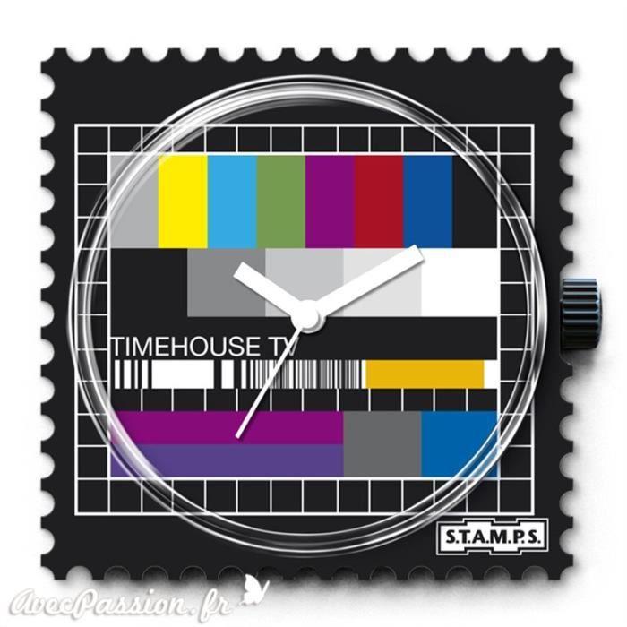 Cadran de montre Stamps test tv 4 x 4 cm Blanc